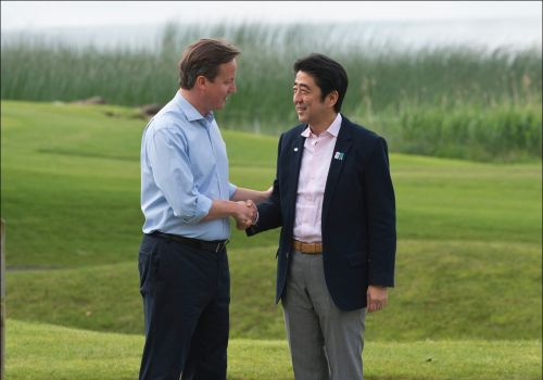 Prime Ministers Cameron and Abe at 2013 G8 Summit