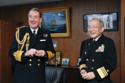 "Admiral Zambellas was welcomed by Vice Admiral Izuru Fukumoto, President of the JMSDF Staff College, and they exchanged their opinions with other staff of staff college.     After discussion, Admiral Zambellas delivered a lecture to all students and staff in an auditorium. In his lecture, he mentioned that Japan and the UK are keeping a close relationship with the same ambition as natural ""a priori"" partners under the current international situation and security environment."