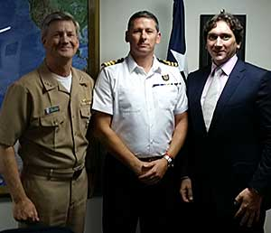 Vice Admiral Robert L. Thomas, Commander of US Navy 7th Fleet, UK Royal Navy Commander Simon Staley, and Warren Edge, MAST meet during a recent visit to Yokosuka, Japan